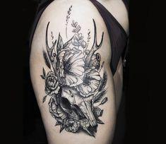 Animal Skul and Flowers tattoo by Kati Berinkey