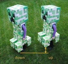 The days are counting down till halloween. So if you've always wanted to make your own minecraft creeper costume this is for you! You play minecr Minecraft Halloween Costume, Minecraft Costumes, Boy Halloween Costumes, Boy Costumes, Costume Ideas, Fancy Costumes, Creeper Minecraft, Minecraft Ideas, Costumes
