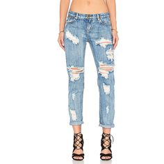 One Teaspoon Awesome Baggies Denim (£98) ❤ liked on Polyvore featuring jeans, destroyed denim jeans, ripped denim jeans, white destroyed jeans, white distressed jeans and destructed jeans