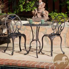 Add a stunning touch of class to any outdoor setting with this classic bistro set. Offering cast aluminum construction for lightweight strength and a rustic copper finish for an old-fashioned look, the set includes two chairs and a table.