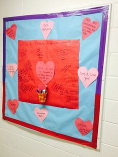 "Valentines Bulletin board, ""what do you love about our hall?"""