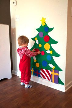 Felt Christmas Tree  3ft tall  (would be super easy to make!) attach to wall with double stick tape or 3m strips