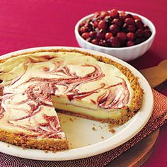 32 Easy (and Tasty) Pies | Cranberry Swirl Cheesecake Pie | AllYou.com