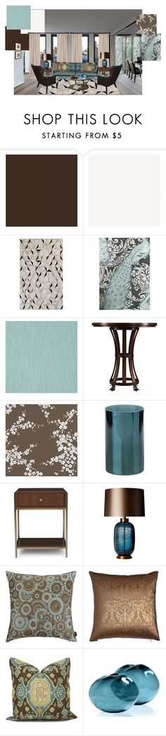 """""""Tourquoise, Chocolate, and cream"""" by colonae on Polyvore featuring interior, interiors, interior design, home, home decor, interior decorating, SANDERSON, Cole & Son, Linwood and La Vie en Rose"""