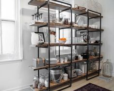 15 Wonderful Industrial Kitchen Shelf Design Ideas To Organize Your Kitchen Kitchen Shelving Units, Kitchen Shelf Design, Industrial Shelving Units, Diy Kitchen, Pipe Shelving, Kitchen Ideas, Open Kitchen, Kitchen Pantry, Diy Industrial Shelf