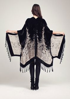 Black Velvet Fringe Kimono Midnight Magic by shevamps on Etsy