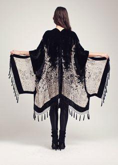 Black Velvet Fringe Kimono - Midnight Magic