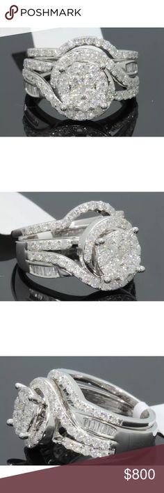 Stunning 1.80 carat 10kwhite gold diamond ring set Stunning 1.80 carat 10k white gold diamond ring set Jewelry Rings