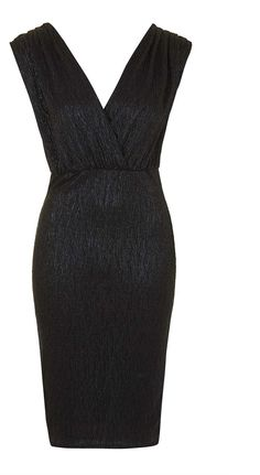 Womens black metallic wrap-over midi dress by rare from Topshop - £45 at ClothingByColour.com