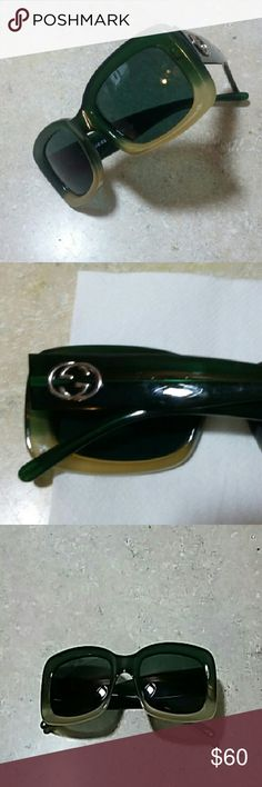 AUTHENTIC GUCCI SUNGLASSES. These are some awesome pre-loved Gucci sunglasses with gradient frame color.  Green/cream color. The lenses are gry w/o gradient  tint.  These do not have spring hinges.  Faint scratches on the temples.  Size 51-21 collector piece.  Does not include case but will ship with one no brand in particular. Gucci Accessories Sunglasses