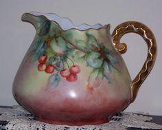 Antique Bavaria Hand Painted Cherries Cider Pitcher