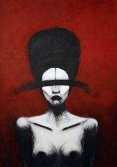 no title, 70x100cm, acrylic on canvas, 2013, portrait, painting, face, art, hair, lips, ribbon