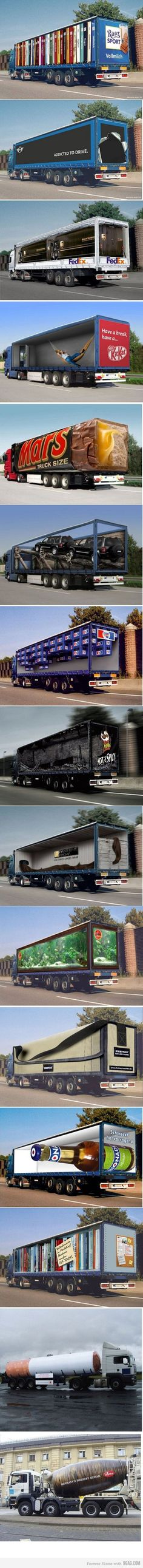 These trucks have been evolved into an advertising platform in a way that is not just a typical poster. They have used the shapes of the trucks to relate to the products that they are advertising and it has been done with a lot of success. My personal favourite is the one shaped like a cigarette as the truck is the perfect shape to accommodate this.