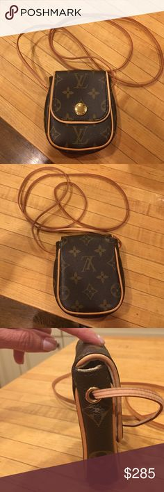 Louis Vuitton mini crossbody purse Authentic Louis Vuitton mini crossbody purse! Perfect for $, lipstick and credit cards! Super cute! Like new! Louis Vuitton Bags Crossbody Bags