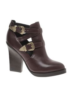 ASOS | AUBREY Leather Ankle Boots | Western Style Buckle