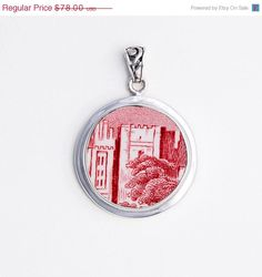 ON SALE Broken China Jewelry Johnson Bros Old Britain Pink Red Castles Sterling Pendant