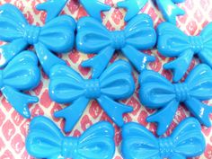 5x Huge 45mm Blue Bow Beads Bowknot by CuteCornwall on Etsy, £2.00