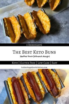 Best Keto Buns for Hot Dogs, Hamburgers, and Sandwiches - Don't pass on the bun! Instead, make these keto buns that don't taste like scrambled eggs mixed with sand!#keto #ketobuns #kethotdog #ketosandwhich #ketobread #lowcarb #lchf   buttertogetherkitchen.com