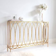 Slim Gold Console Table | Metal Gold Console Table - inspired by Jean-Baptiste-Camille Corot
