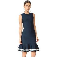 Victoria Victoria Beckham Pull On Dress (1,100 CAD) ❤ liked on Polyvore featuring dresses, slip on dress, no sleeve dress, blue dress, flounce hem dress and sleeveless dress