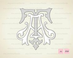 Wedding logo TA AT Vintage Monogram Wedding Clip Art