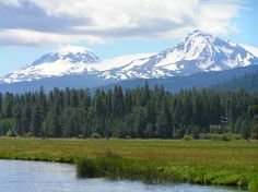 The Three Sisters mountains as seen from Black Butte Ranch, Oregon.