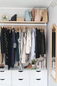 I like the drawers beneath the hangers, extra drawer space w/o needing extra space for a dresser.
