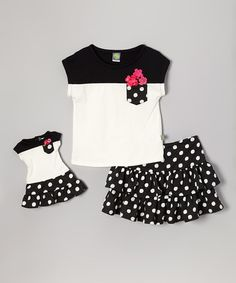 Love this Black & White Ruffle Skirt Set & Doll Outfit - Toddler & Girls on #zulily! #zulilyfinds