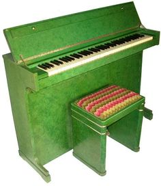 """Art Deco  Green Eavestaff Piano Eavestaff pianette """"Mini piano"""" Art Deco Circa 1930's. Patent numbers and 'Dale Forty, Leamington' under the lid. When the lids down the top of the piano is flat."""