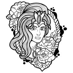 Today's #PigmentDailyDownload is an ornate portrait cameo. Enjoy those details in the hair! And don't forget that subscribers get access to premium brushes, palettes and more! #PigmentApp #painting #coloring #digitalpainting #digitalcoloring #portraitcameo #coloringbook Adult Coloring, Coloring Books, People Coloring Pages, Brushes, Don't Forget, Palette, Photo And Video, Portrait, Hair
