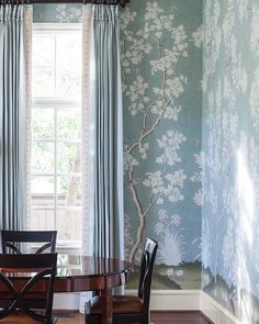 dining room with hand painted gracie wallpaper by collins interiors   dallas designers   formal dining room   collins-interiors.com