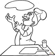 Italian Is Cooking Pizza Coloring Page