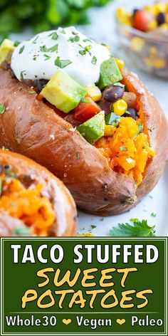 These Mexican Stuffed Sweet Potatoes are a healthy dinner recipe that can easily be meal prepped for busy weeks! Baked sweet potatoes are loaded with canned corn, black beans, fresh tomatoes, avocado Gluten Free Vegetarian Recipes, Vegan Dinner Recipes, Dairy Free Recipes, Vegan Dinners, Mexican Food Recipes, Healthy Recipes, Dinner Healthy, Vegetarian Recipes For Families, Healthy Eating