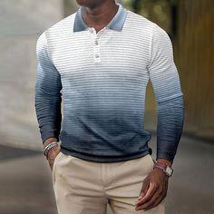 BrosWear Casual Fall Season Gradient Color Long Sleeve Polo Shirt Long Sleeve Polo, Long Sleeve Shirts, Long Trench Coat, Business Shirts, Fashion Shirts, Mens Fall, Gradient Color, Casual Fall, Fall Season