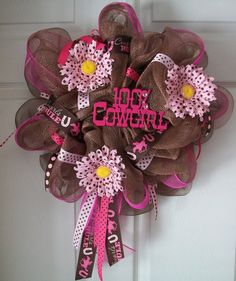 COWGIRL Deco Mesh Wreath by ADoorableCreations05 on Etsy, $45.00