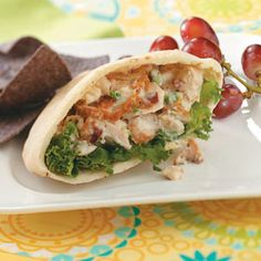 Fried Chicken Pitas Recipe-These pitas are very different from your usual chicken sandwiches—they use leftover fried chicken! No one will be able to resist these tasty treats. —Jennifer Veneziano, Carmel, Indiana