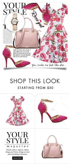 """""""Rosegal 63"""" by amra-hadzic ❤ liked on Polyvore featuring Pussycat, Gucci, vintage, Pink, Flowers and rosegal"""
