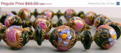 Vintage Venetian Wedding Cake Art Glass Bead  Necklace by jujubee1, $58.50