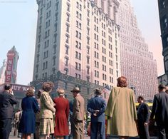 Times Square in New York City on D-Day, 1944