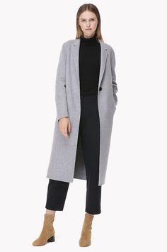 Thin lapel wool long coat