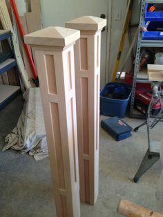 Unfinished craftsman newel posts.