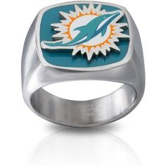 Stainless Steel Licensed NLF Miami Dolphins Logo Ring