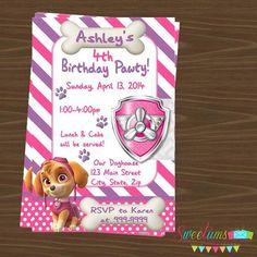 Paw Patrol Skye party Invitation