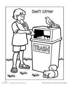 Litter endangers animals and can be hazardous to human health. Help keep your neighborhood clean by always putting trash in the proper receptacle. Library Lesson Plans, Preschool Lesson Plans, Preschool Science, Preschool Worksheets, Tracing Worksheets, Preschool Social Studies, Social Studies Worksheets, Childhood Education, Kids Education