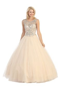 Floor Length Prom Gown 53E3030 Floor length prom and evening dress with illusion neckline featuring hand beaded top and open V back featuring lace-up closure, long tulle skirt. https://www.smcfashion.com/wholesale-prom-dresses/floor-length-prom-gown-53e3030