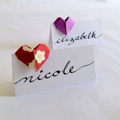 Items similar to Calligraphed Origami Heart Place Cards Wedding Escort Cards on Etsy Easy Origami Flower, Origami Rose, Origami Folding, Origami Wedding Invitations, Wedding Place Cards, Wedding Table, Wedding Paper, Heart Place, Origami Decoration