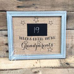 Arpillera tiza abuelos cuenta atrás muestra - semanas hasta abuelos - bebé regalo natural algodón tela lámina - aviso del embarazo
