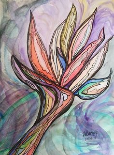 De laatste van deze vakantie aquarellen, nr.5. 7 juni '15. Een abstract schilderijtje geïnspireerd door de paradijs vogel bloem. 32x24 cm.  The last of these Holiday watercolours, nr.5. 7-6-'15. An abstract painting, inspired by the bird of Paradise flower. 32x24 cm.