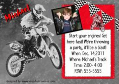 Motocross Theme on Bonanza. Great for boys or girls birthday party. Moto cross, motorcycle, dirt bike racing invite. Custom digital invitation.