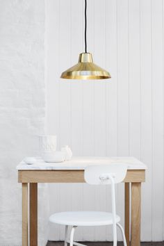 Evergreen brass over table